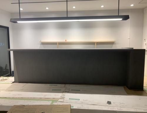 MORTEX(モールテックス)カウンター 壁 店舗施工例
